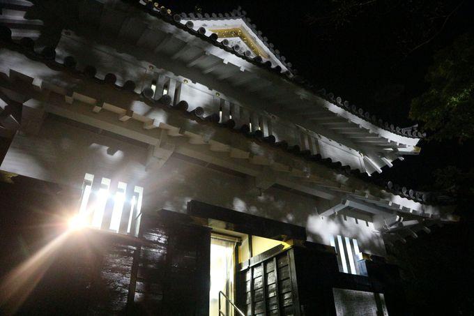 ライトアップされた岐阜城がお出迎え