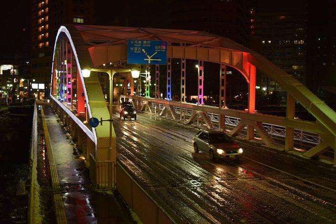 開運橋ライトアップと岩手山