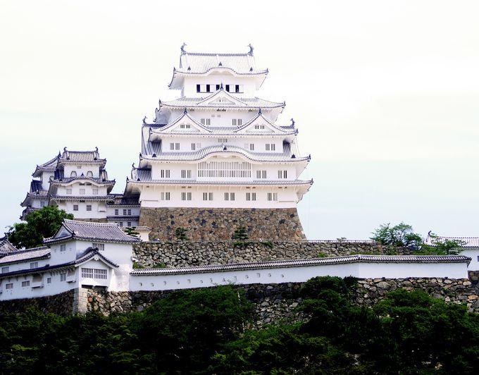 真っ白に輝く天守。姫路城が白さにこだわったのは、敵に城をより大きく見せるためだった。