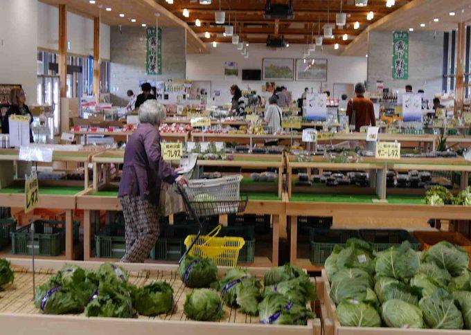 新鮮野菜満載の直売所「軽井沢発地市庭」の広さに圧倒される。