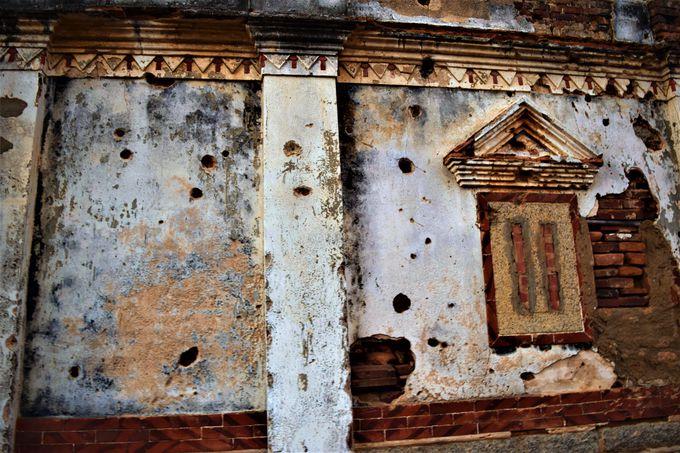 弾痕の跡が残る「北山古洋楼」