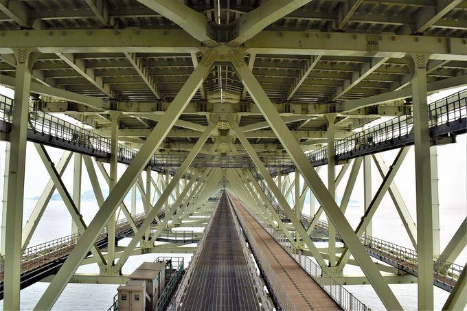 迫力満点の丸木橋!橋の真下を歩こう