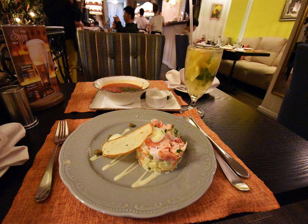 1日目:ホテル到着とロシア料理のディナー