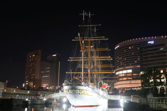 あの帆船日本丸のライトアップが魅力的!!