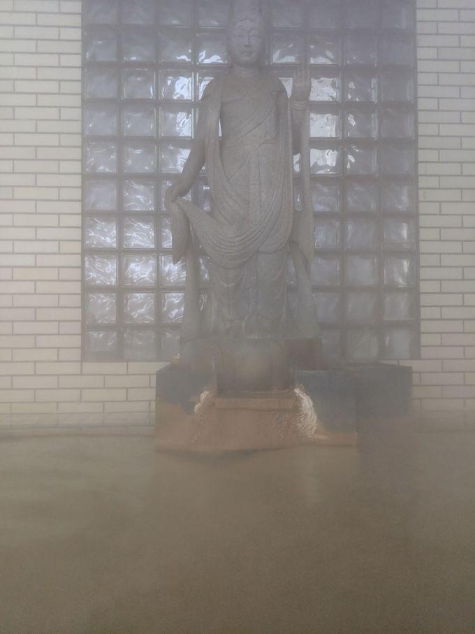 お湯は熱くてしょっぱい「熱塩温泉」お風呂に観音様