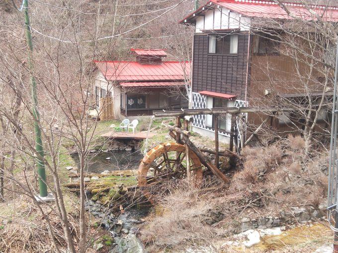 水車が回る赤い屋根の建物