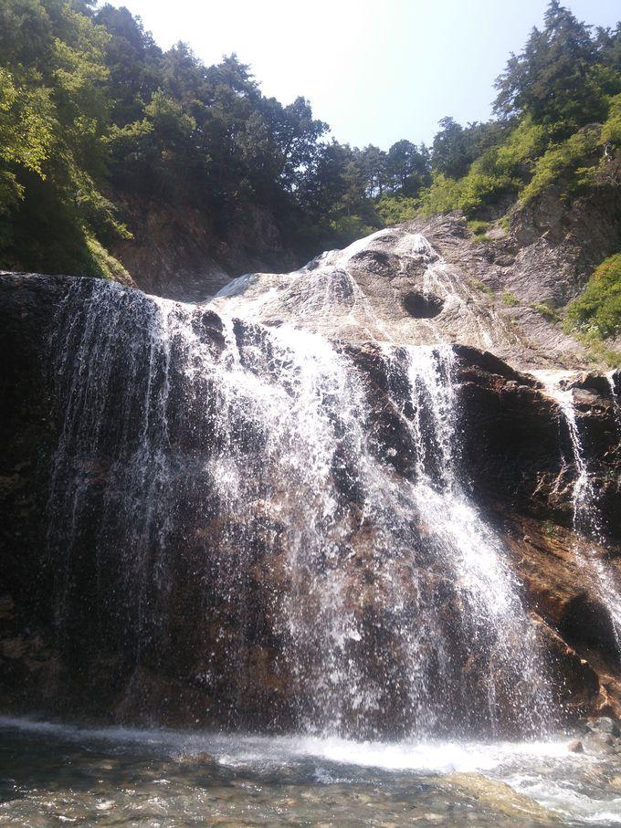 渓谷沿いを歩いて「姥ケ滝」