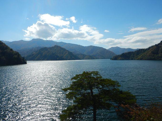 森に囲まれた田子倉湖