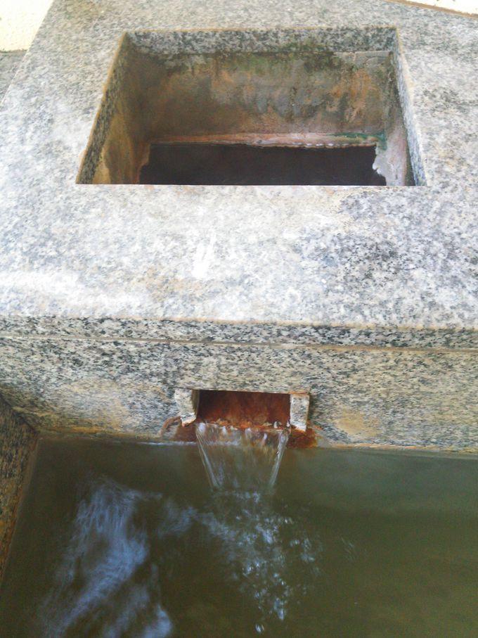 広々とした内湯に濃い源泉が流れ込む「桐の湯」