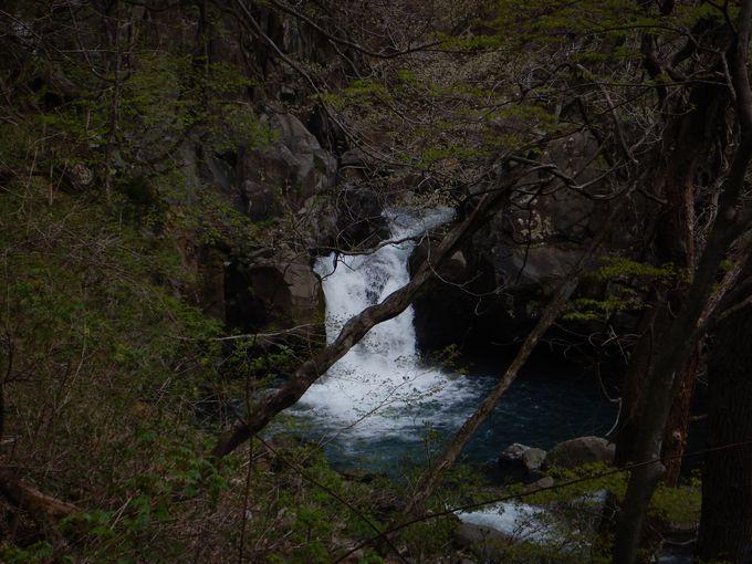 悲恋伝説がある「思いの滝」へ