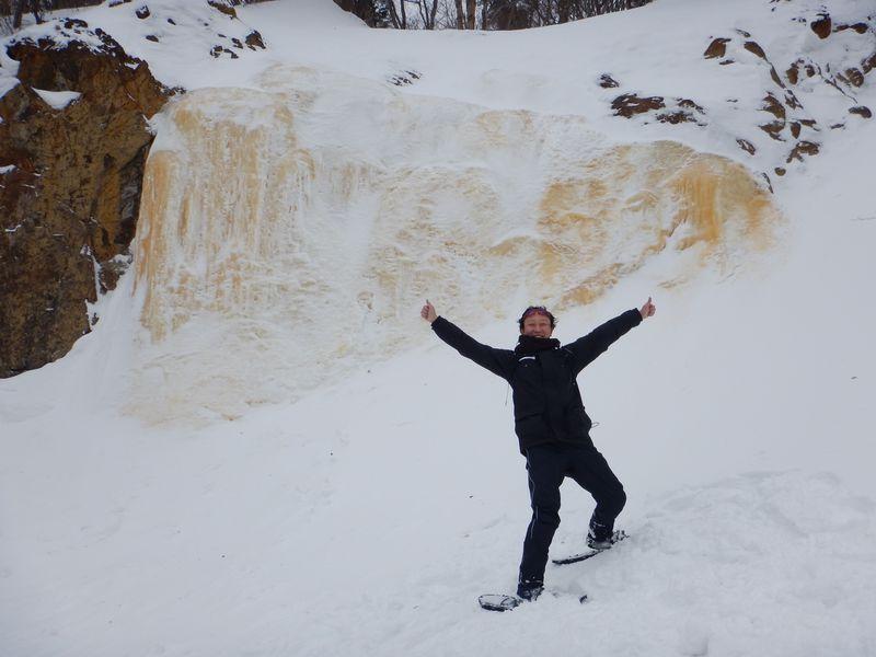 裏磐梯で冬季限定の氷瀑「イエローフォール」へは雪上歩行で!