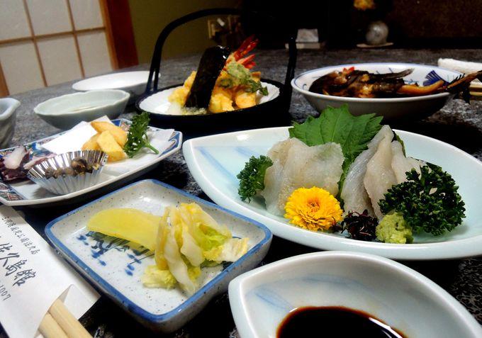 佐久島館で海鮮料理と自家製野菜を堪能