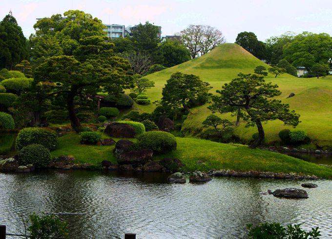 最初からクライマックス!水前寺成趣園の入口に広がる絶景