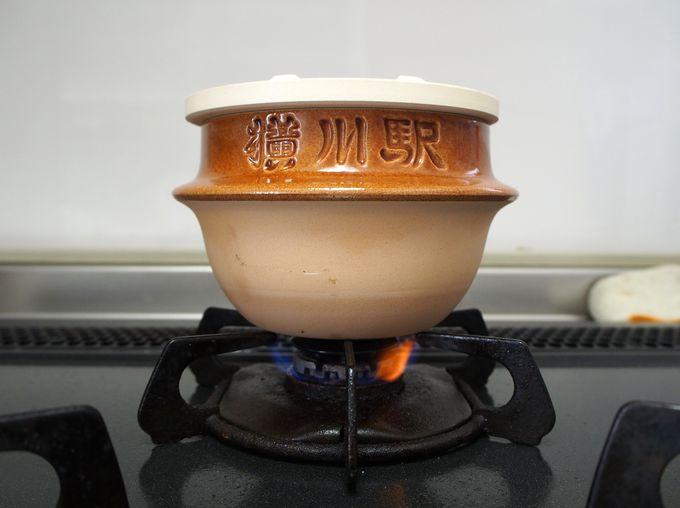 峠の釜めしの容器を使った基本的な炊飯