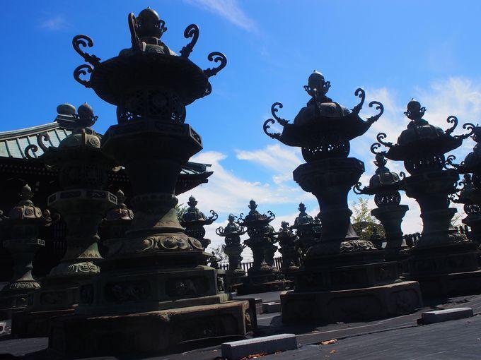 多数の石灯籠や唐金灯篭が並ぶ狭山不動尊