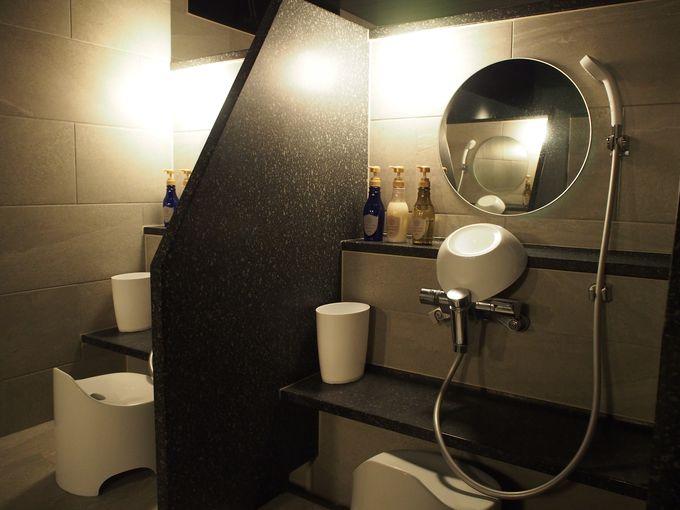 幻想的なライトアップ!レフ大宮の大浴場