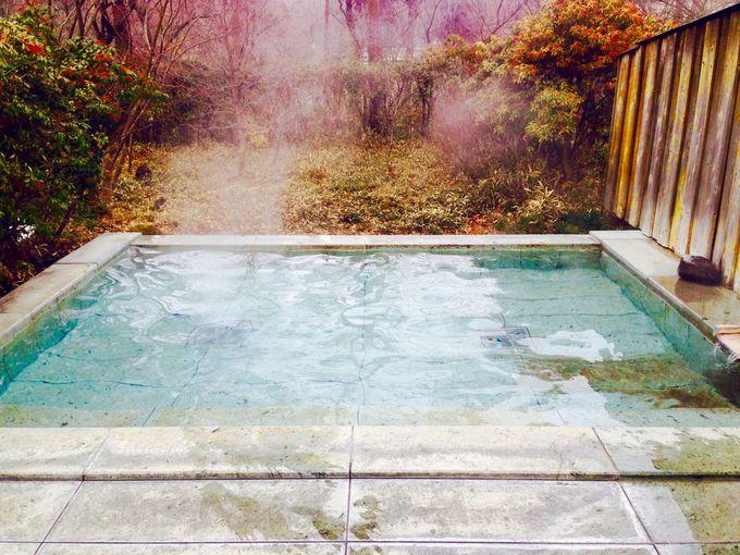 森の中の露天風呂で極楽気分