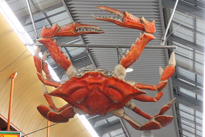 アーケードのディスプレイは蟹!そして魚!