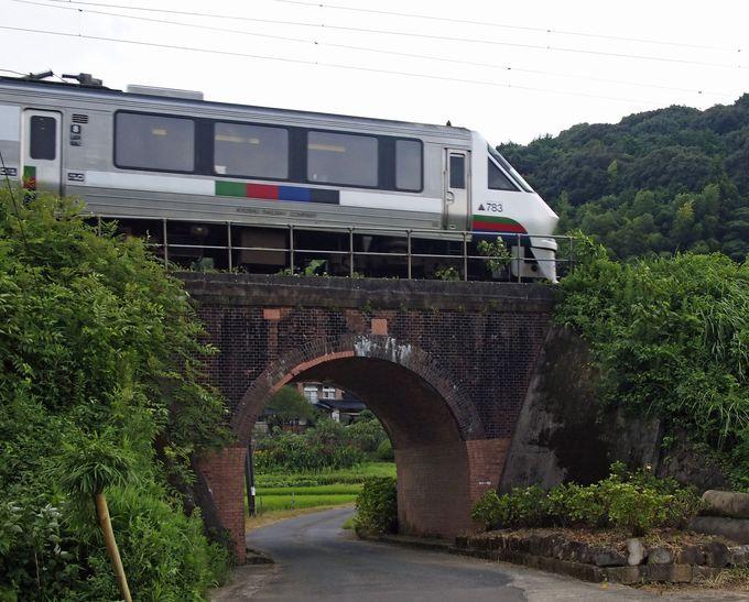 特急電車の通過シーンも撮影可能 −松原湯第一橋梁−