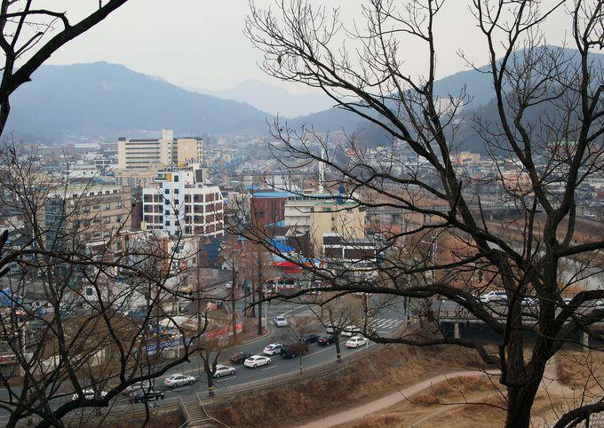 日本統治時代の旧多佳神社から市街を俯瞰