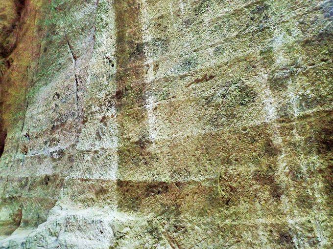 掘り跡が残る岩肌