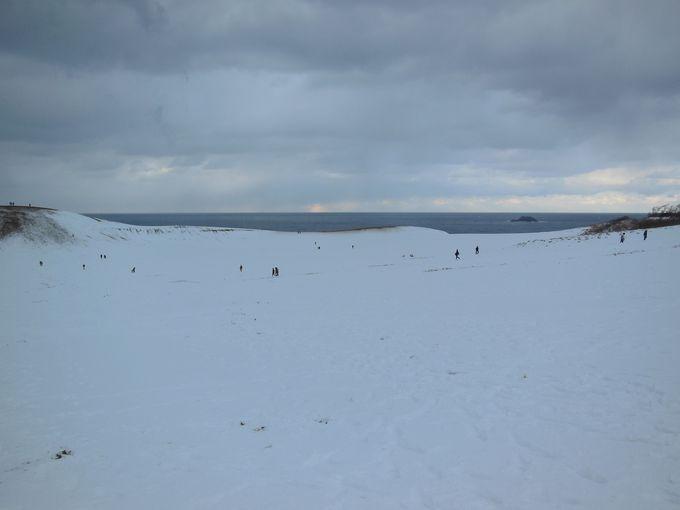 雪化粧の鳥取砂丘