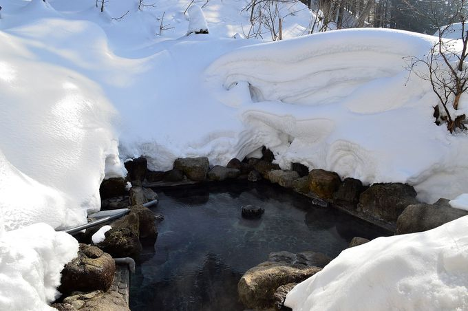 圧巻の雪見風呂