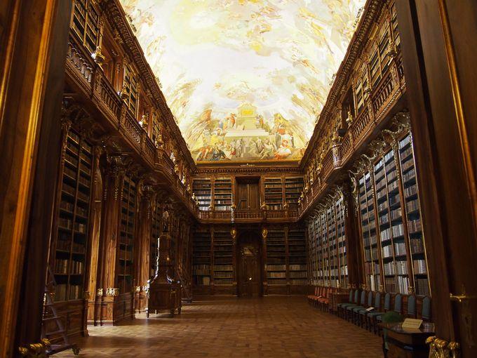 フレスコの天井画に圧倒される「哲学の間」