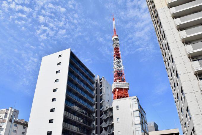 東京タワーを見渡せる開放的なラウンジ