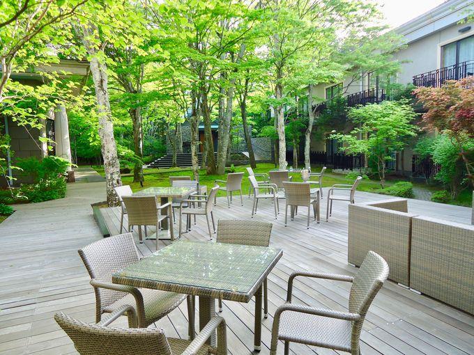 朝食の後は緑あふれる中庭で優雅なひとときを