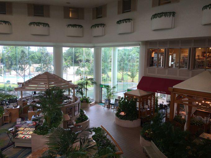 白亜の建物と開放感あふれる館内はまさにリゾート!