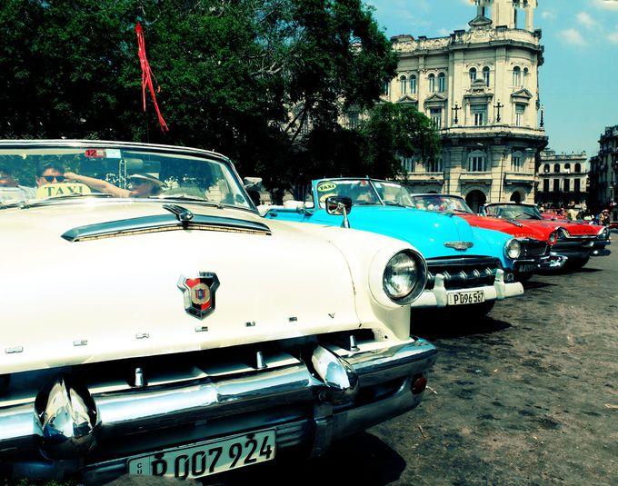 旧国会議事堂前に整列する模範的なアメ車たちと記念撮影