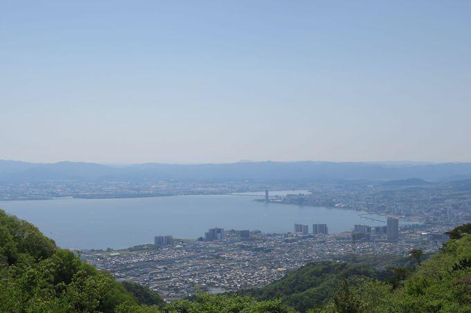琵琶湖と大津市街を一望