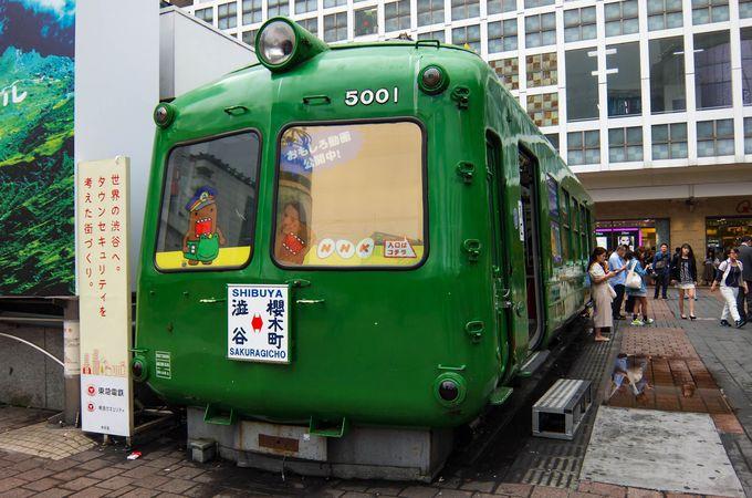 懐かしい東急電鉄の車両を使った「しぶやアオガエル観光案内所」