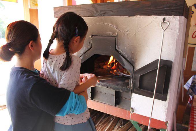 グルメいろいろ、自分で作れる窯焼きピザも!