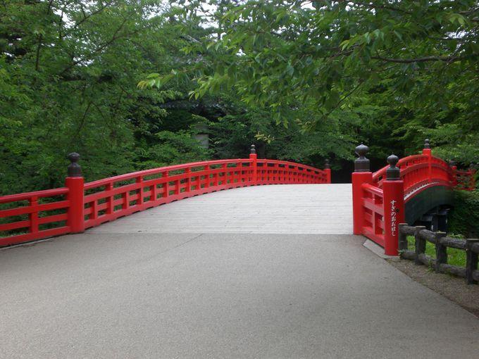 天守に向かう道筋にも見所がたくさん、この赤い橋も!