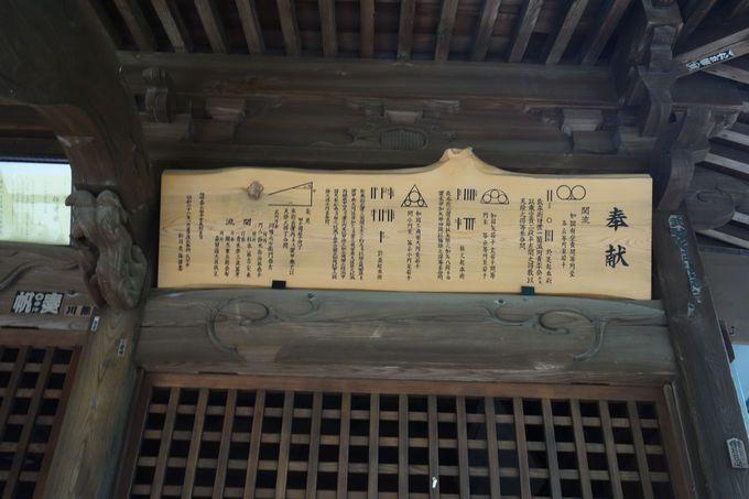 本丸跡下の住吉神社には江戸時代の学問文化「算額」が掲示!