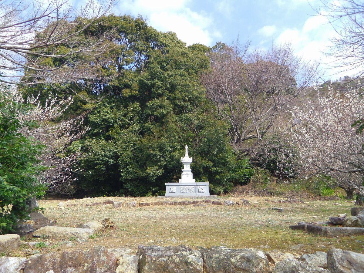梅の向こうに見えるは奥浜名湖!