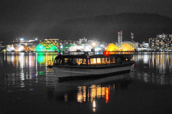 船から見るびわ湖花噴水のライトアップ!