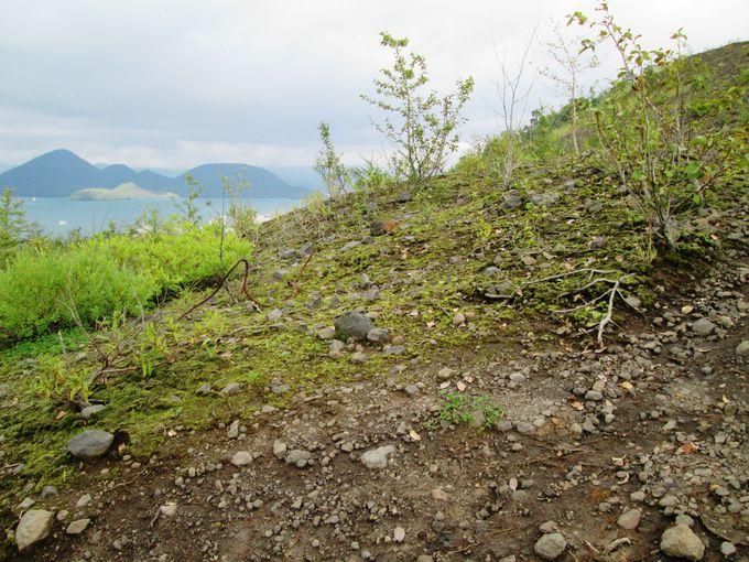 「有くん火口」は目前!岩が転がる急斜面を登って火口を目指そう