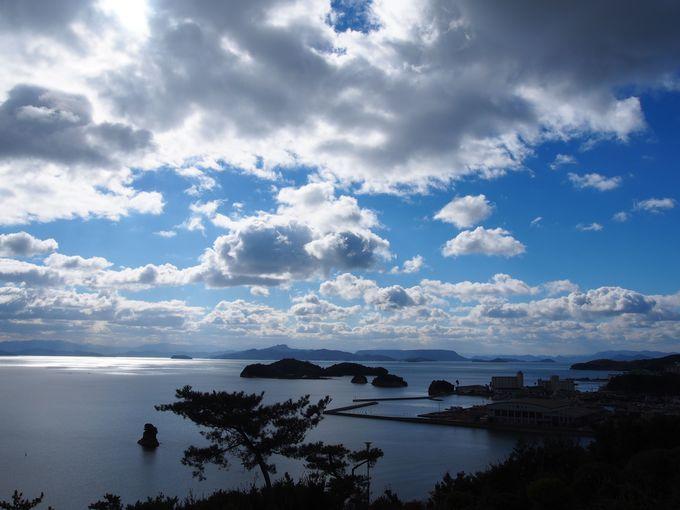 秋祭りの舞台となる絶景「富丘八幡神社」