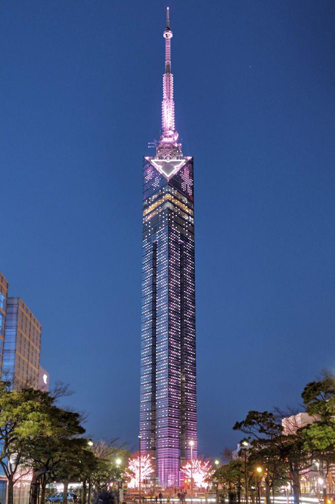 「福岡タワー」のライトアップは、落ち着きある大人の雰囲気