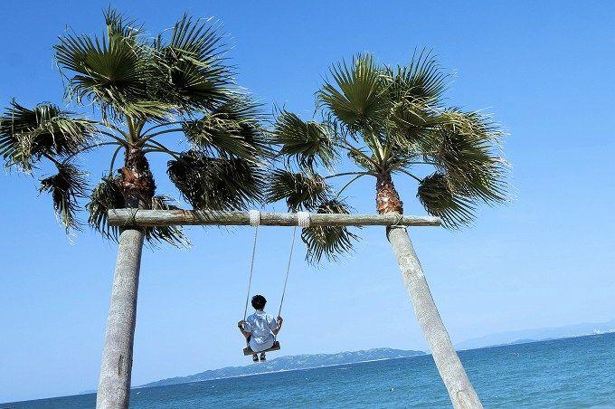午前中は「ヤシの木ブランコ」。まるで南国のビーチ!