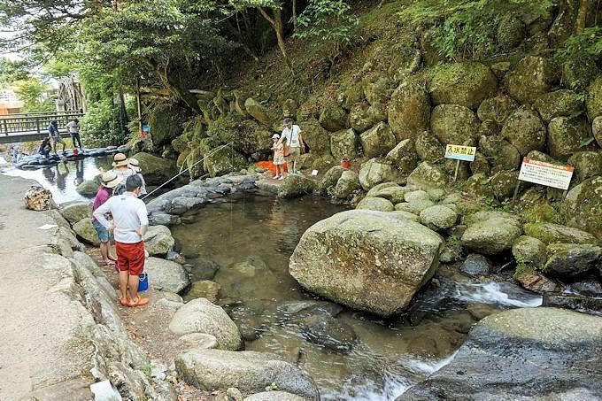 「白糸の滝」では、ヤマメ釣りも楽しめる!