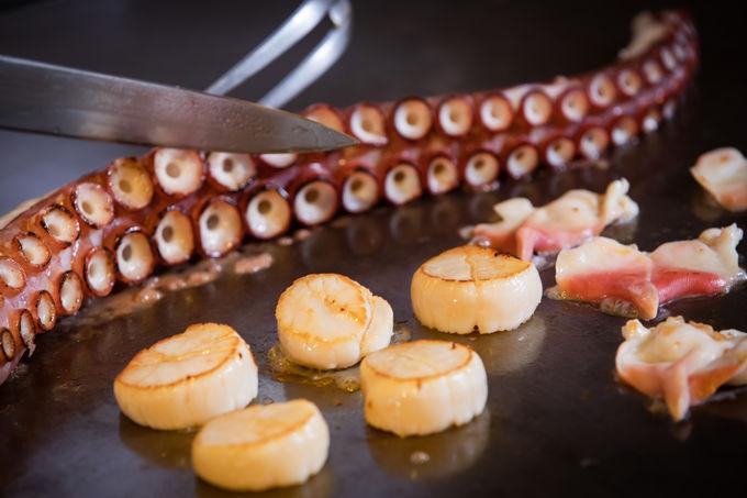 海鮮と牛肉とを贅沢に味わう!