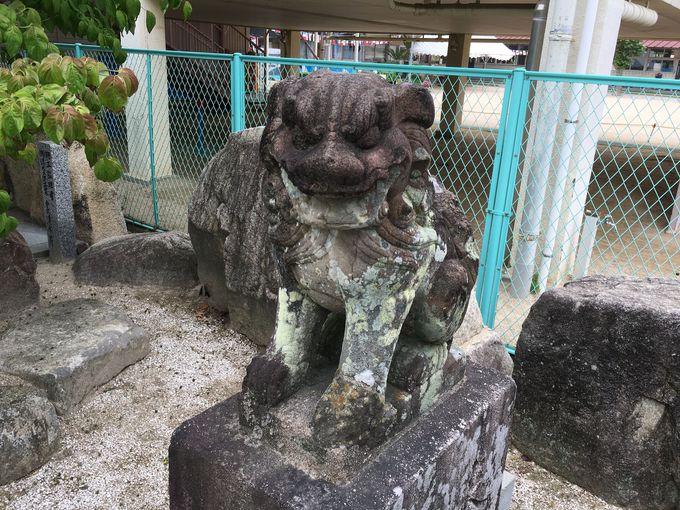 参道に向かい合う凛々しい狛犬