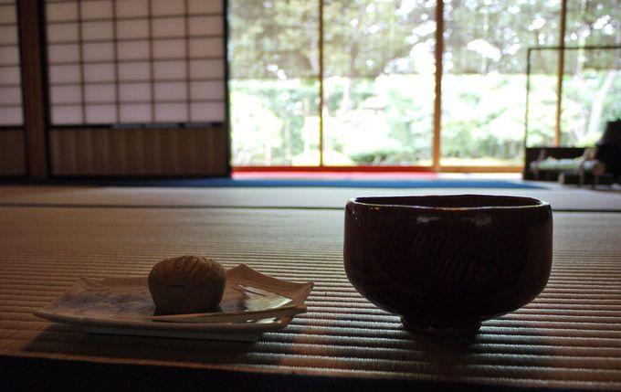 時雨亭でお抹茶を頂く。