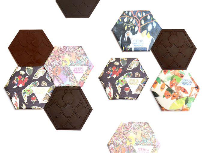 六角形のオシャレなタブレットチョコ