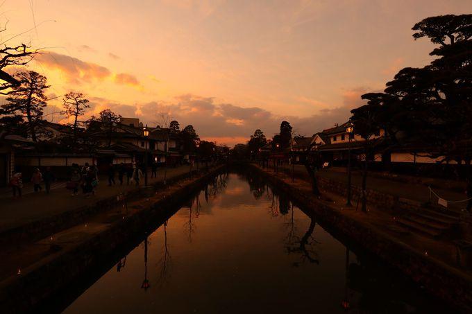 夕陽に包まれる美観地区