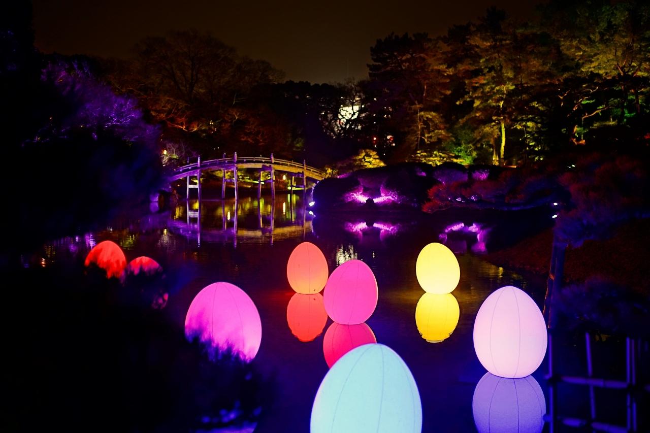 水面に反射する灯りも幻想的!